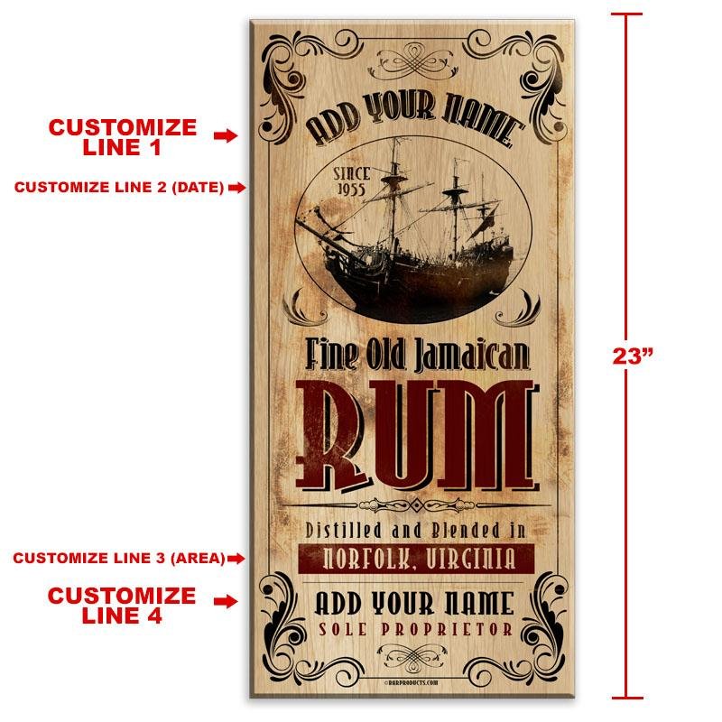 "CUSTOMIZABLE Large Vintage Wooden Bar Sign - Jamaican Rum - 11 3/4"" x 23 3/4"""