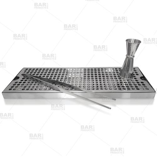 "BarConic® Stainless Steel Drip Tray - Holes - 16"" x 6"""