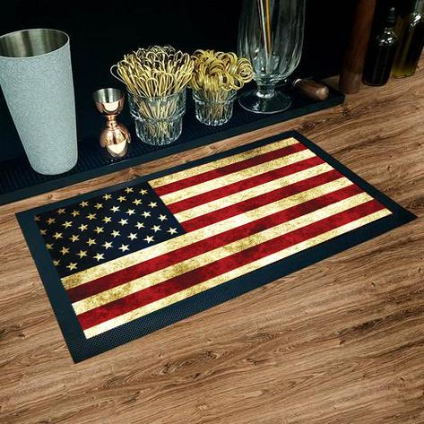 "BAR SERVICE MAT - AMERICAN FLAG- COLOR OPTIONS - 17.25"" X 10"""