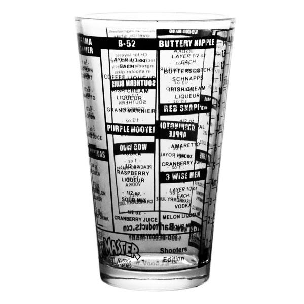 Shooters Recipe Mxing Pint Glass