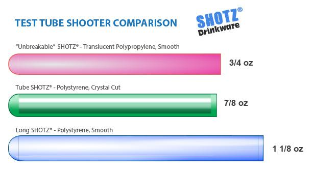 Polystyrene Crystal Cut Tube SHOTZ® / Test Tube Shooters - Pack of 100