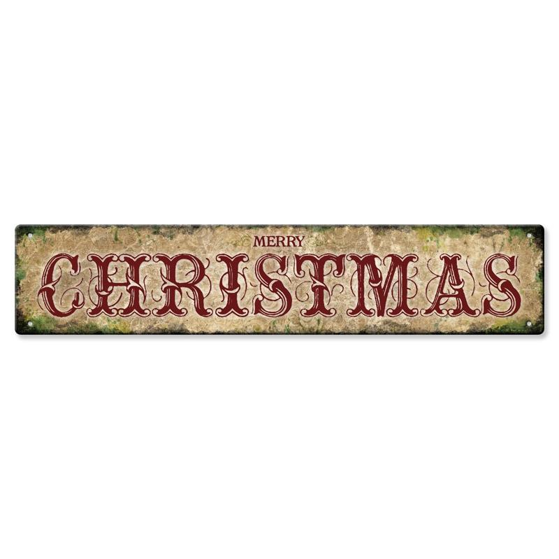 "Metal Holiday Bar Sign - 5"" x 25"" - Merry Christmas"