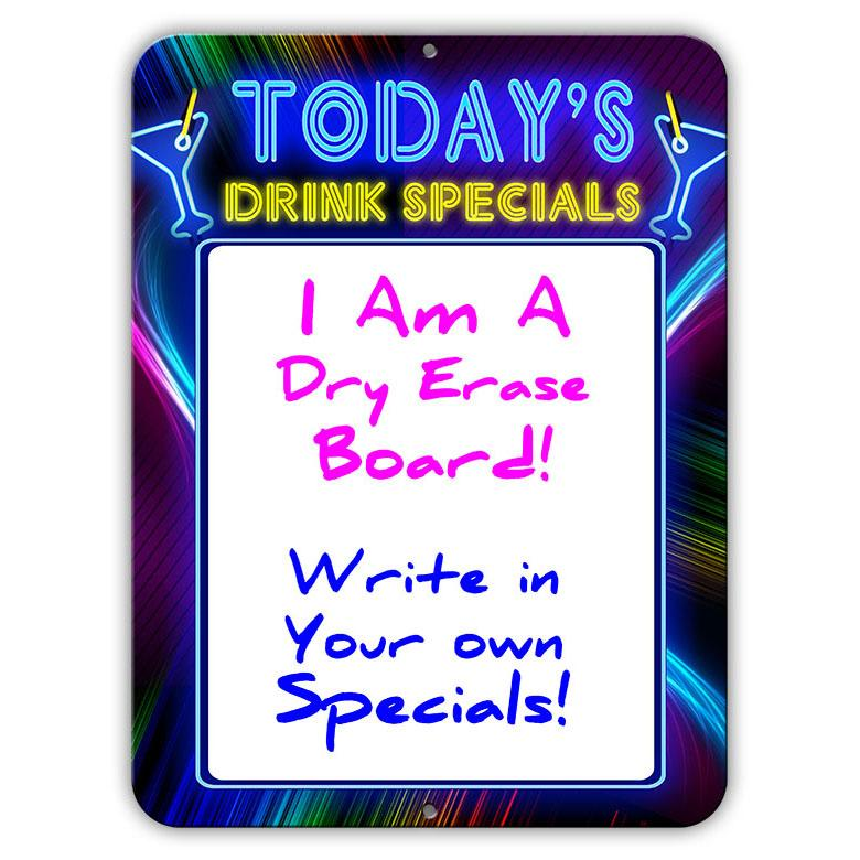 "Today's Drink Specials - Dry Erase 9"" x 12"" Metal Bar Sign - Neon Themed"