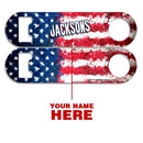 CUSTOMIZABLE Skinny Mini Bottle Opener - Grunge US Flag