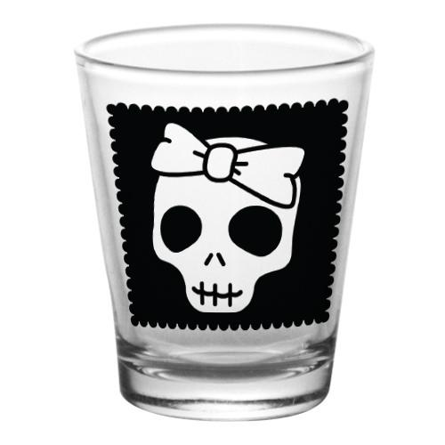 1.75 oz Shot Glass- Cutsey Skulls - Bow