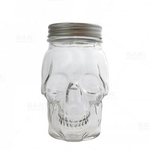 BarConic® Skull Mason Jar with Lid - 16 ounce