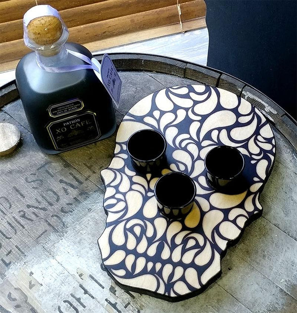 Shot Glass and Bottle Caddy - Elegant Skull