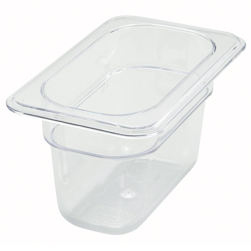 "1/9 Size Clear Polycarbonate Food Pan, 4"" Deep"