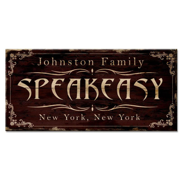 "CUSTOMIZABLE Large Vintage Wooden Bar Sign - SPEAKEASY - 11 3/4"" x 23 3/4"""