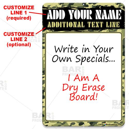 Dry Erase Specials Sign - ADD YOUR NAME - Camouflage Pattern Template