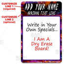 Dry Erase Specials Sign - ADD YOUR NAME - Colorful Abstract Template