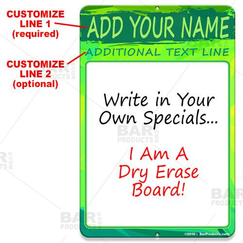Dry Erase Specials Sign - ADD YOUR NAME - Green Abstract Template