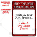 Dry Erase Specials Sign - ADD YOUR NAME - Red Abstract Template