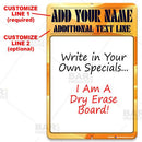 Dry Erase Specials Sign - ADD YOUR NAME - Yellow Abstract Template