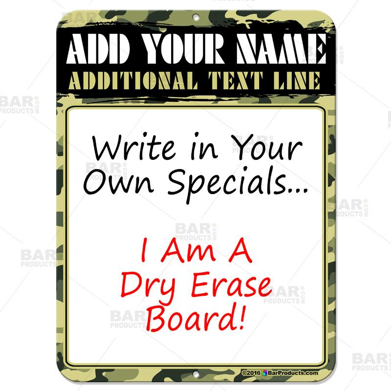 "9"" by 12"" Dry Erase Specials Sign"