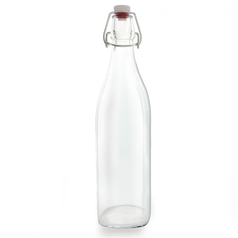 Swing Top Glass Bottle - Clear Square - 1 Liter or 17 ounce
