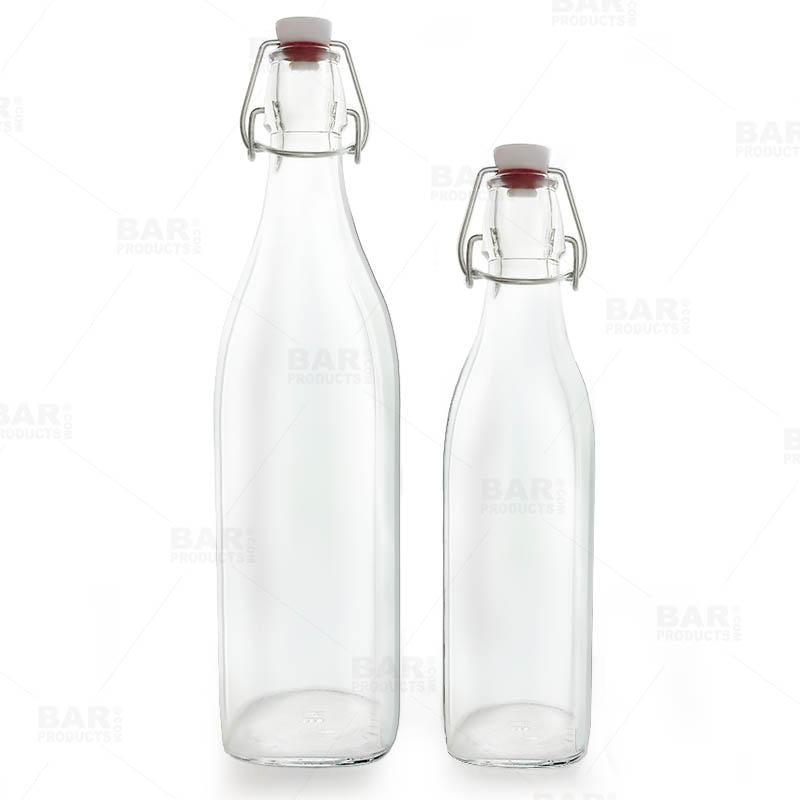 Square Glass Bottle w/ Swing Top - Available in 1 Liter or 17 ounce