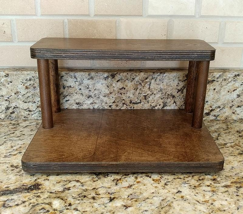 "Counter Caddies™ - Stained Finish - 12"" STRAIGHT Shelf - Culinary / Spice Rack"