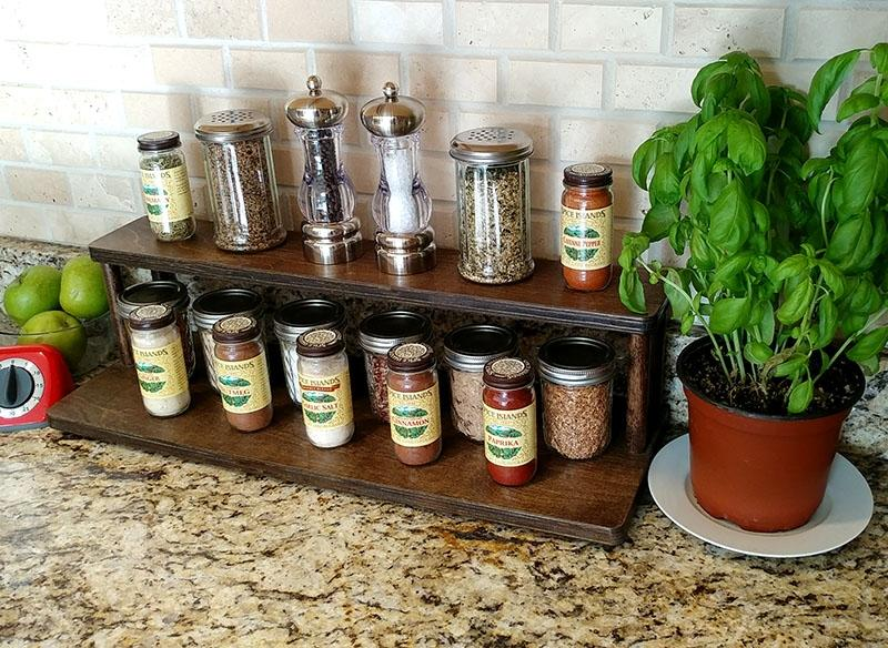 "Counter Caddies™ - Stained Finish - 24"" STRAIGHT Shelf - Culinary / Spice Rack"