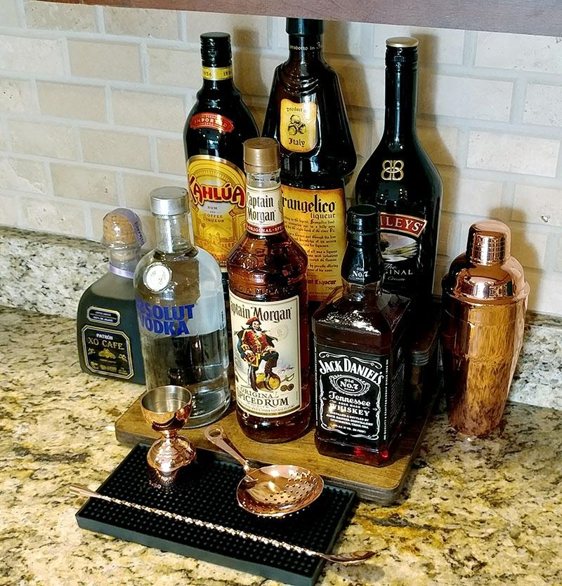 "Counter Caddies™ - STAINED Finish - 12"" STRAIGHT - Liquor/Wine Bottle Display"
