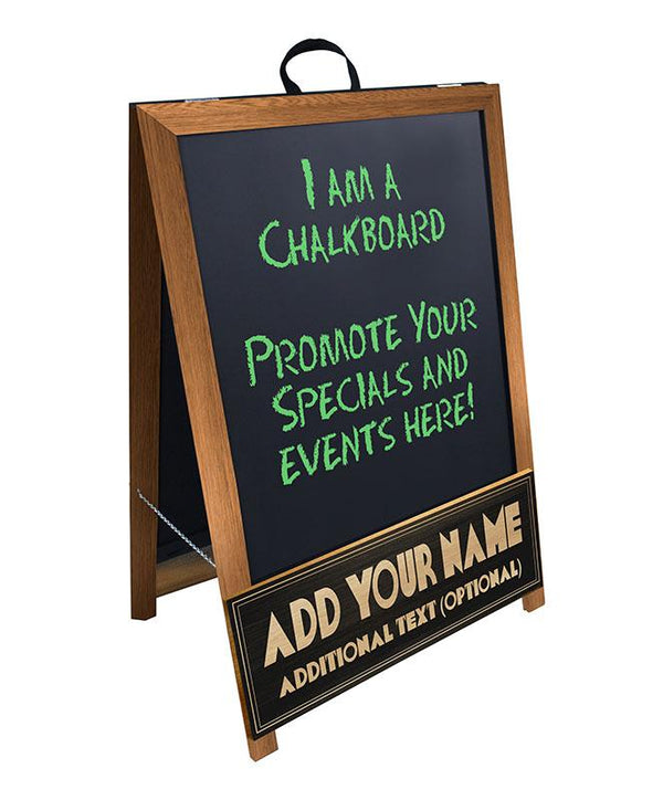 """ADD YOUR NAME"" A-Frame Sidewalk Chalkboard Sign – Double Sided - Stained Wood Finish"