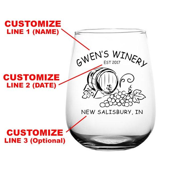 CUSTOMIZABLE - Stemless Wine Glass - 17 ounce - Wine Barrel