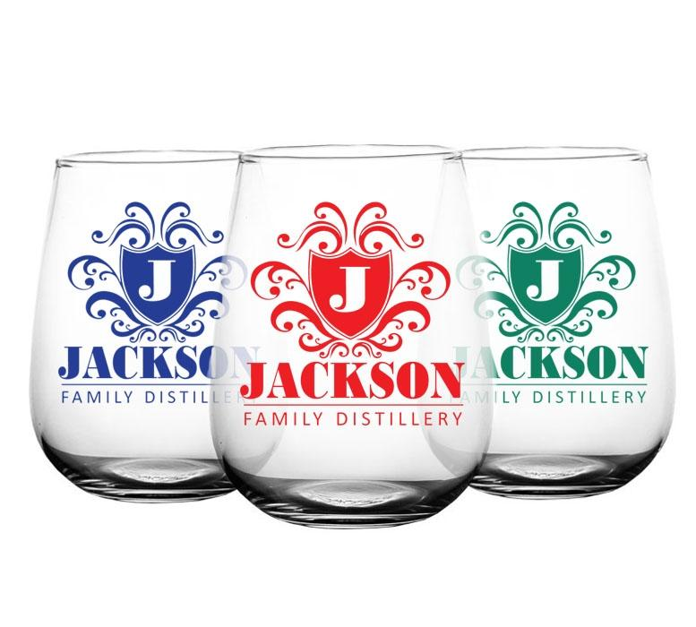 CUSTOMIZABLE - Stemless Wine Glass - 17 ounce - Crest Design 3