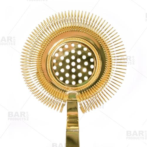 BarConic® Long Ridged Handle No Prong Strainer - Gold