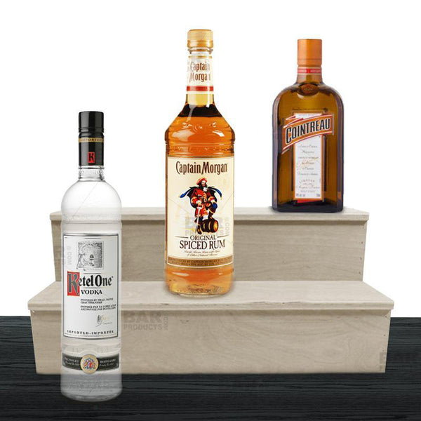 Wooden Liquor Shelves - 2 Tier - NATURAL