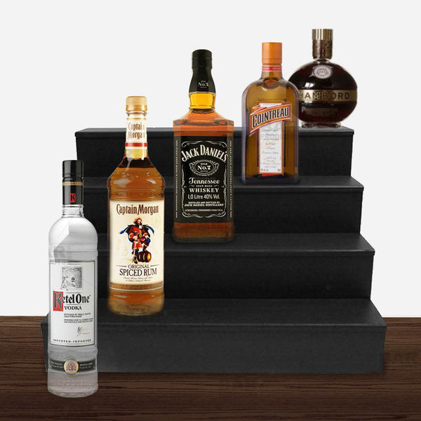 Wooden Liquor Shelves - 4 Tier - BLACK