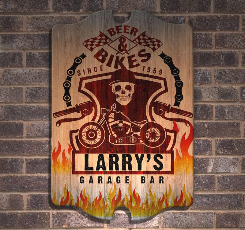 Custom Tavern Shaped Wood Bar Sign - Biker