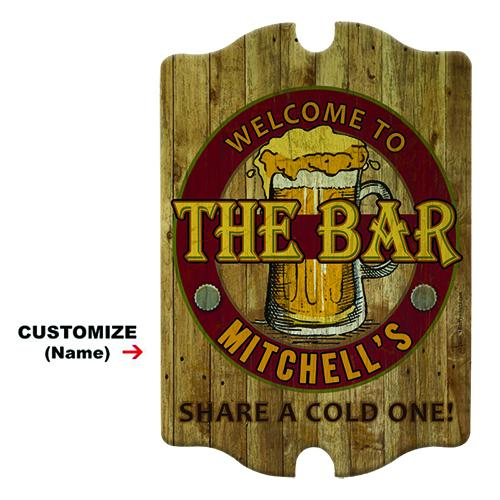 Custom Tavern Shaped Wooden Bar Sign - The Bar