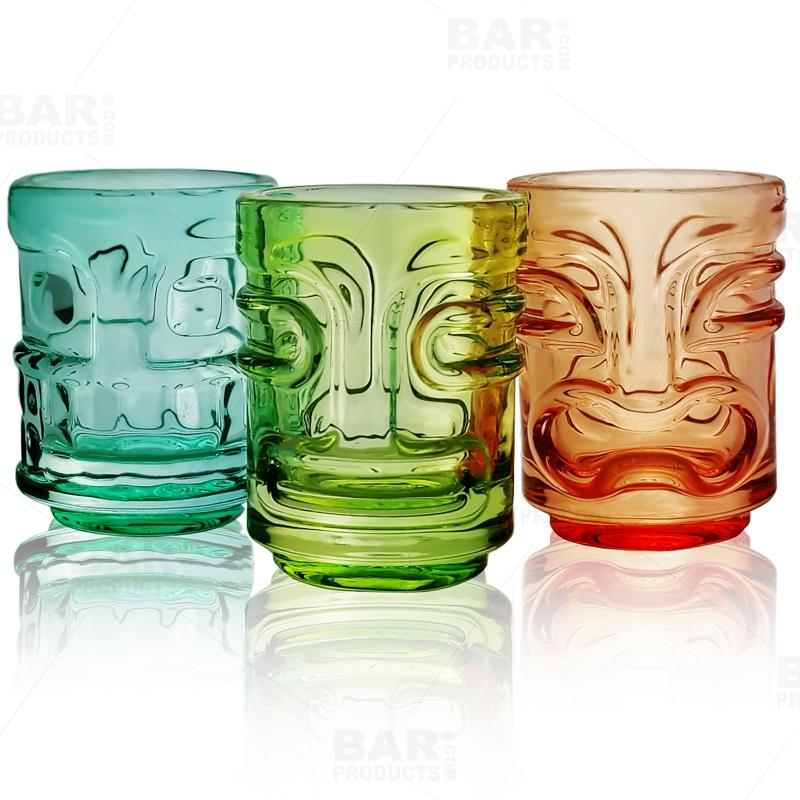 Shot Glasses - Tiki - Set of 3 - Multicolor - 2 Oz