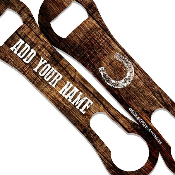 """ADD YOUR NAME"" V-ROD® Bottle Opener – Grunge Wood – Several Color Options"