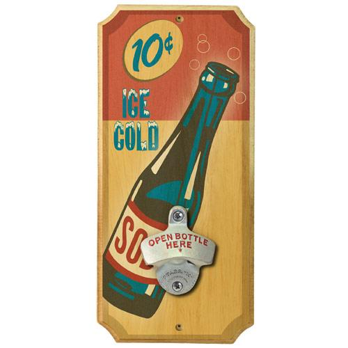 Vintage Soda - Wall Mounted Wood Plaque Bottle Opener