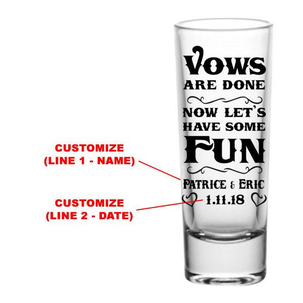 CUSTOMIZABLE - 2oz Tall Clear Shot Glass - Vows