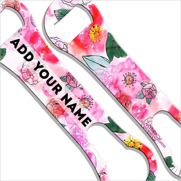 ADD YOUR NAME V-Rod® Bottle Opener - Watercolor Flowers Pink