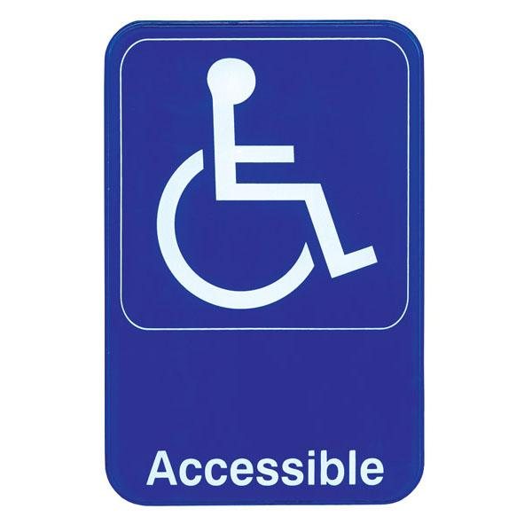 "Handicap Accessible - White on Blue Sign - 6""x9"""
