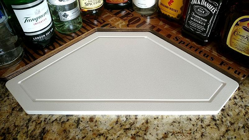Counter Caddies™ - Stained Finish - CORNER Shelf w/ Trash Can Inset