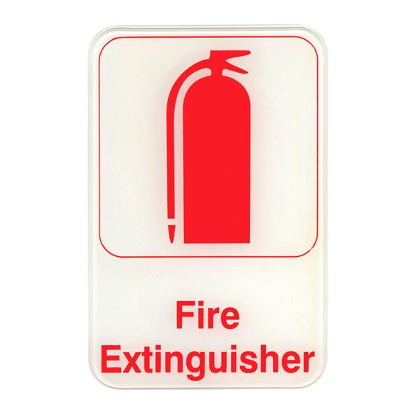 "Fire Extinguisher - Red on White Sign - 6""x9"""