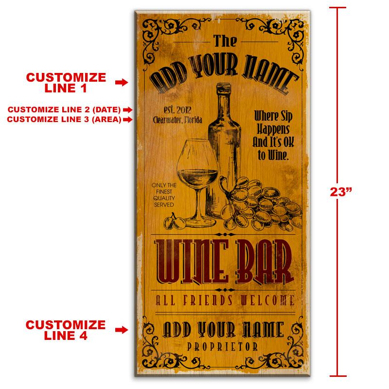 "CUSTOMIZABLE Large Vintage Wooden Bar Sign - Wine Bar - 11 3/4"" x 23 3/4"""