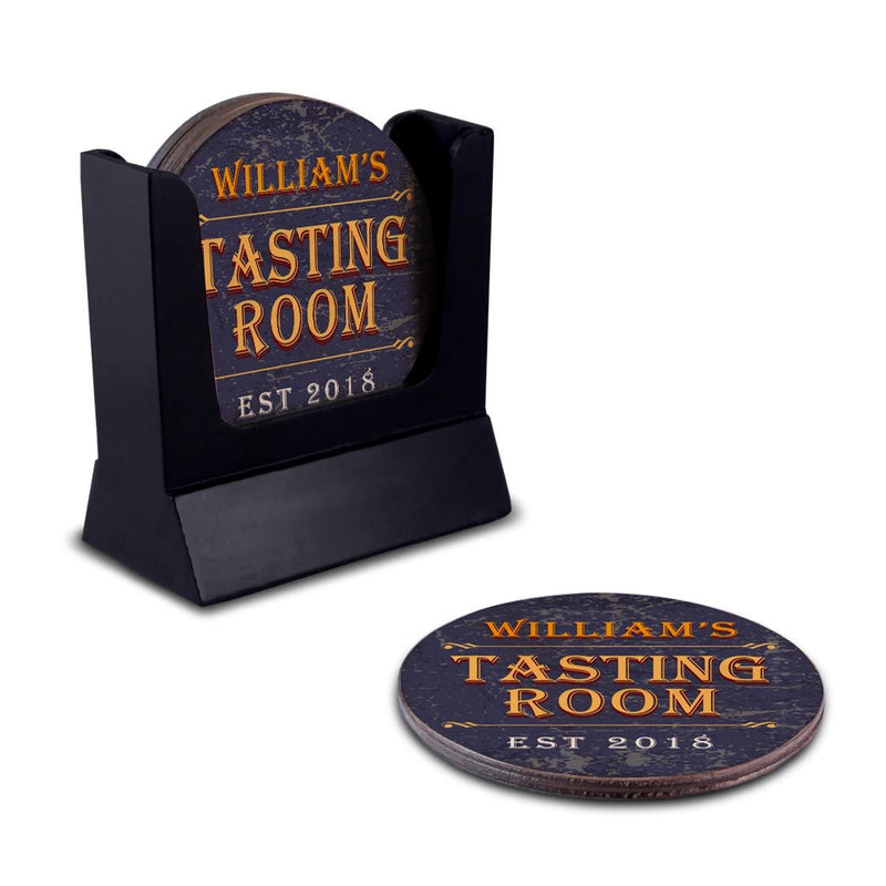 Customizable Wooden Coasters - Tasting Room - Round - Set of 4