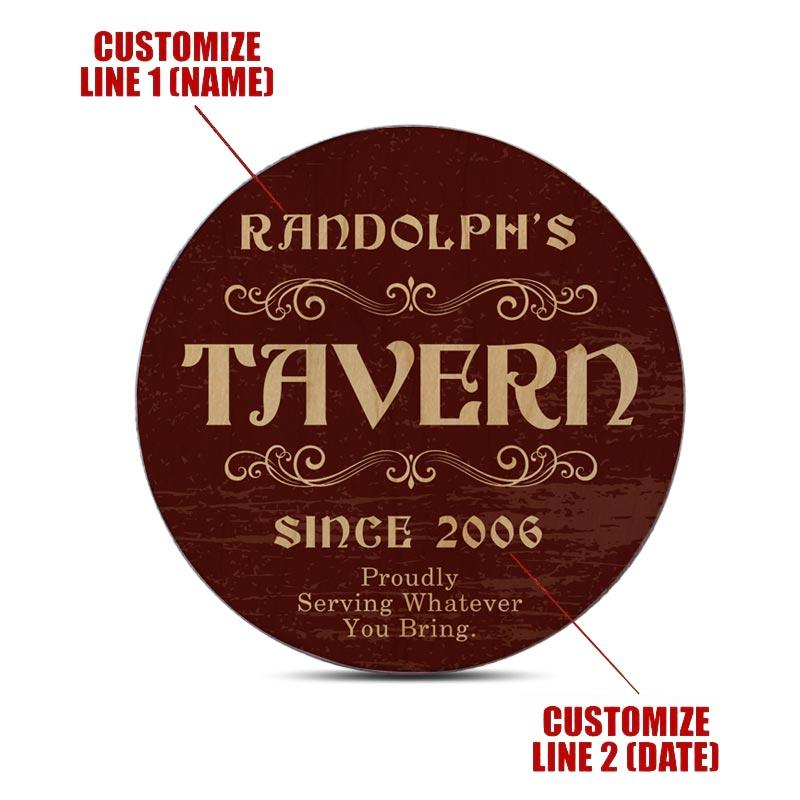 Customizable Wooden Coasters - Tavern Theme - Round - Set of 4