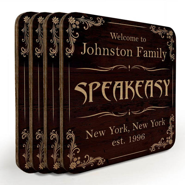Customizable Wooden Square Coasters - Speakeasy - Set of 4