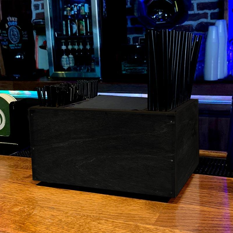 Wooden Bar Napkin & Straw Caddy - BLACK