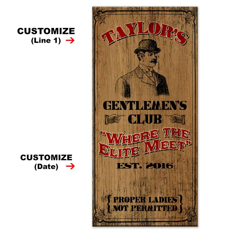 CUSTOMIZABLE Large Vintage Wooden Bar Sign - Gentlemen's Club