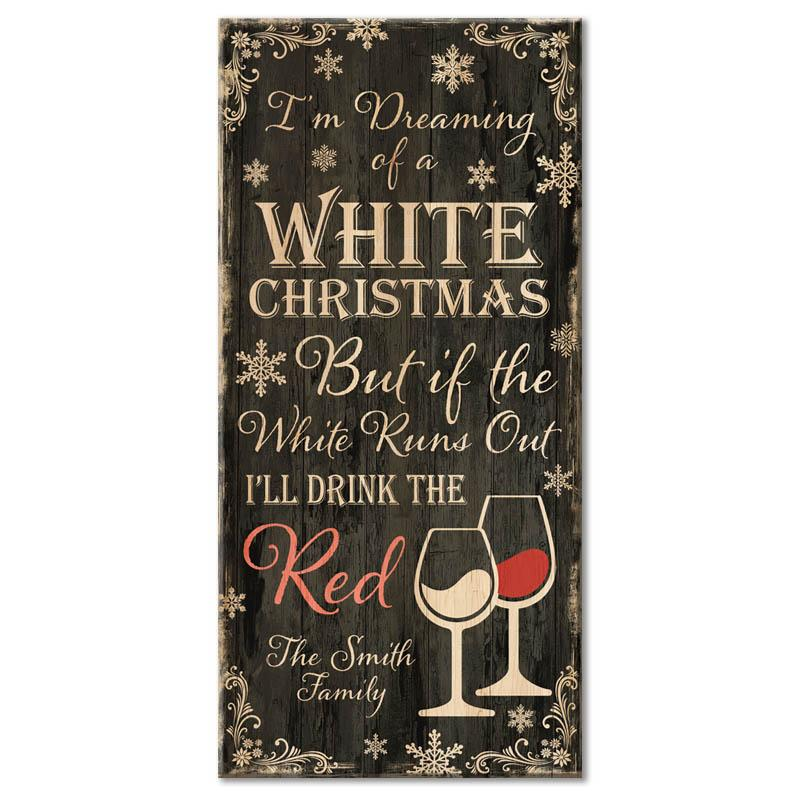 "WHITE CHRISTMAS - CUSTOMIZABLE Large Wooden Bar Sign - 11 3/4"" x 23 3/4"""