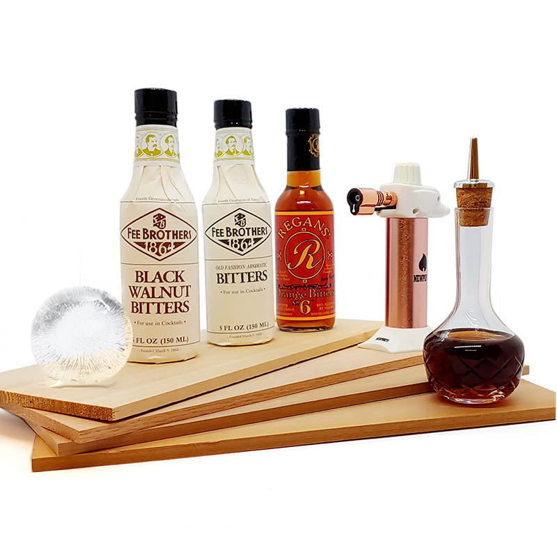 Bitters Kit with Variety Flavored Wood Smoking Planks and Ice Ball Mold