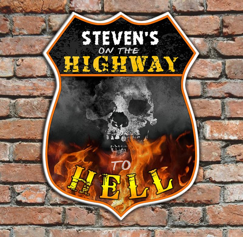CUSTOMIZABLE Wood Shield Plaque- Highway To Hell (customization optional)