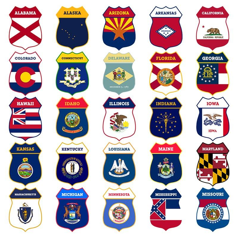 CUSTOMIZABLE Wood Shield Plaque - US State Flags - Every State Available - Two Sizes